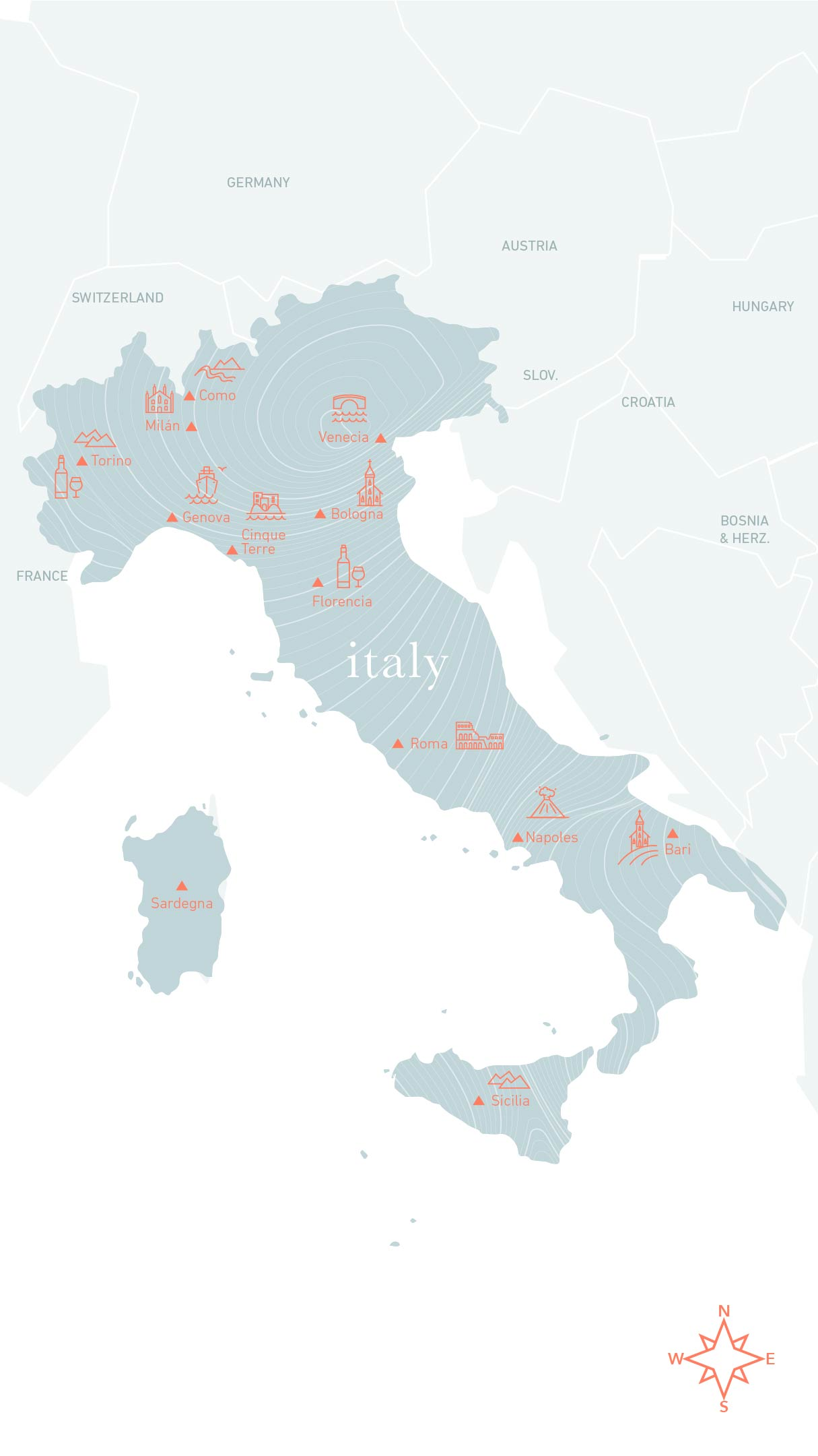 Map Italy Ecco Travels